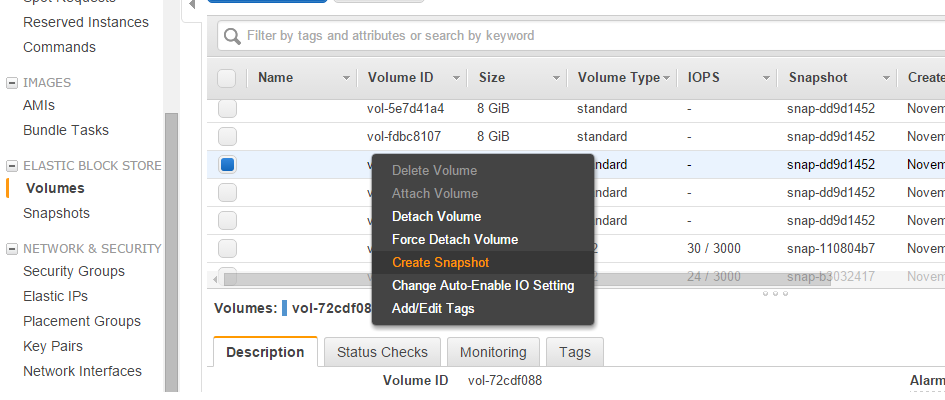 AWS Volume Snapshot example